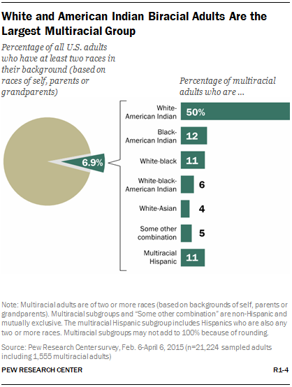 White and American Indian Biracial Adults Are the Largest Multiracial Group