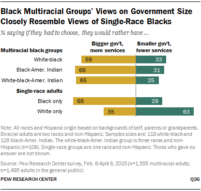 Black Multiracial Groups' Views on Government Size Closely Resemble Views of Single-Race Blacks