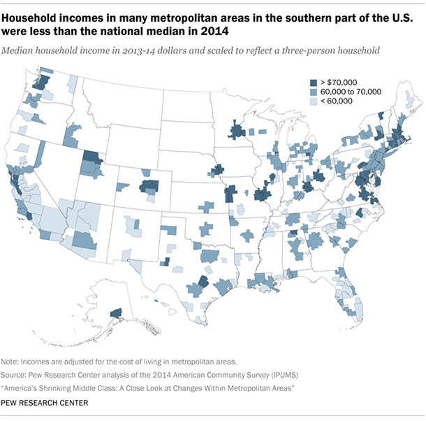 Household incomes in many metropolitan areas in the southern part of ...