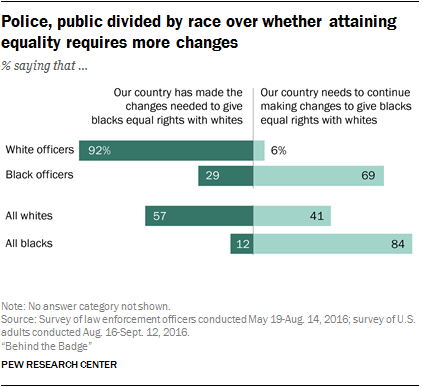 Police, public divided by race over whether attaining equality requires more changes