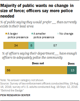 Majority of public wants no change in size of force; officers say more police needed