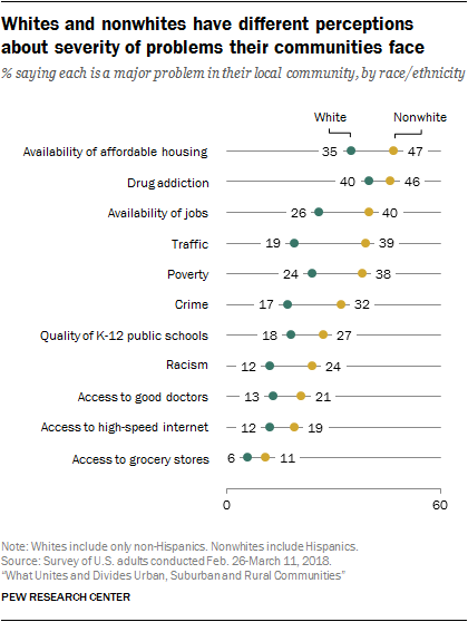 Whites and nonwhites have different perceptions about severity of problems their communities face